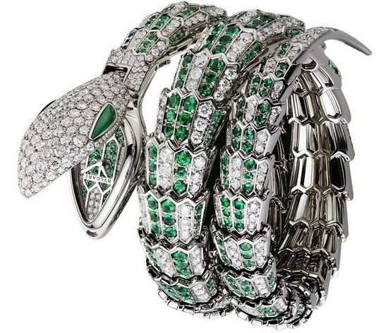 bulgari serpenti high jewelry watch 18k white gold diamonds and emeralds