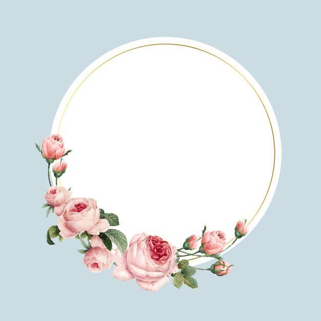 Download Blank Round Pink Roses Frame Vector On Blue Background For Free Rose Frame Pink And White Background Floral Border Design Circle flower wallpaper images