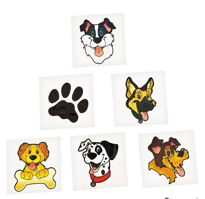 Puppy Party Tattoos (35).  Celebrate all things canine, dogs & puppies by wearing these adorable puppy tattoos! Each temporary tattoo features a fun-loving puppy that's perfect for a boy or girl's birthday party. Add them to treat bags for your friends!  Easy to apply and remove. Non-toxic.  3.81 cm  Contains 35 tattoos