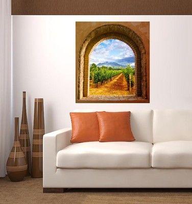 Trompe l'Oeil adesivo ARCO SUL VITIGNO marrone | Effetto profondità in Casa, arredamento e bricolage, Arredamento, Camere da letto | eBay