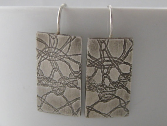 Sterling Silver Textured Oxidised Earrings Handmade by ZaZing, $65.00