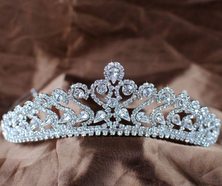 Romantic Silver Plated Royal Crystal Rhinestones Bridal Wedding Tiara and Crown Prom Pageant Art Deco 2013 Headband