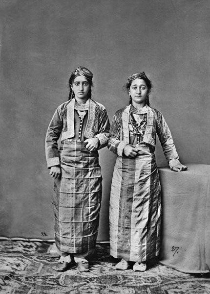 Armenian women in short jackets and straight skirts. Armenia. The Armenians. Photographer D.N. Yermakov. 1881