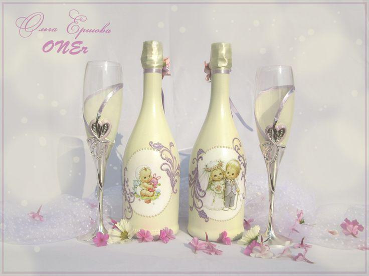 Оформление свадебного шампанского и бокалов в цвете #Айвори и нежно-фиолетовом (с фиолетовым будет и букет невесты) #ivory #wedding