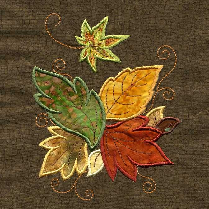 Machine appliqued leaves.
