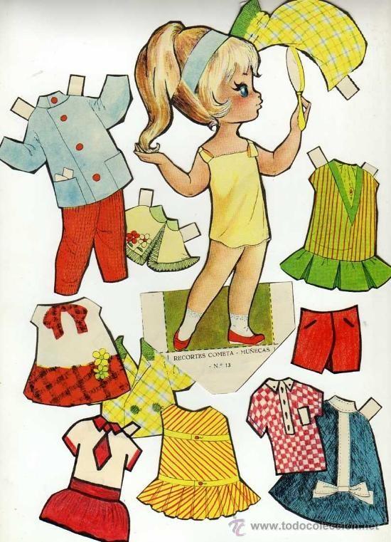 Antiguo recortable de muñecas. Cometa. Nº 13. Recortado en - Foto 1