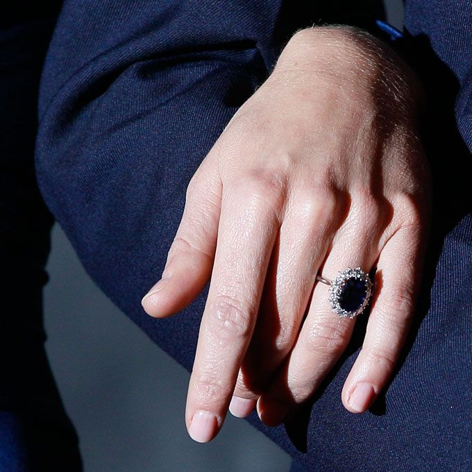Brides.com: . Kate Middleton's Engagement Ring. Prince William's mother, the late Princess Diana, was the first to wear this giant blue sapphire and diamond ring. Now it's the most famous heirloom engagement ring on the planet.