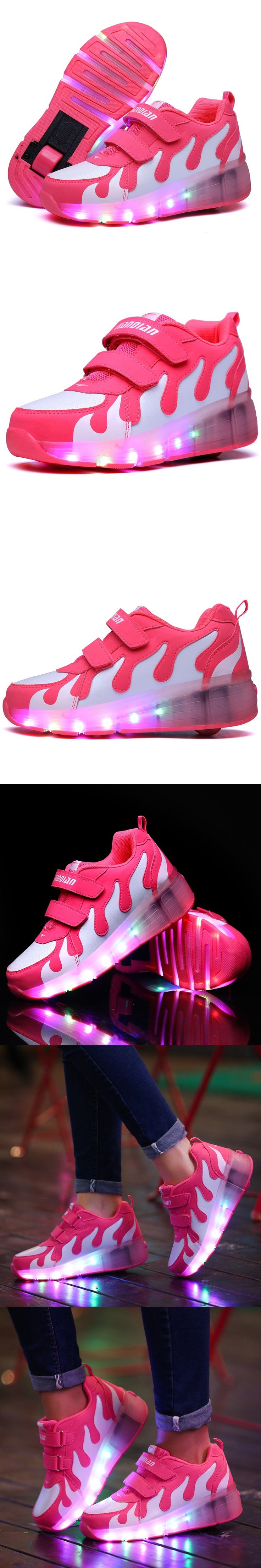 Children wheely Rolle Led Lights Kids Shoes With Wheels Wear-resistant for girls boys Sneakers Zapatillas Con Ruedas CY1637 $44.05