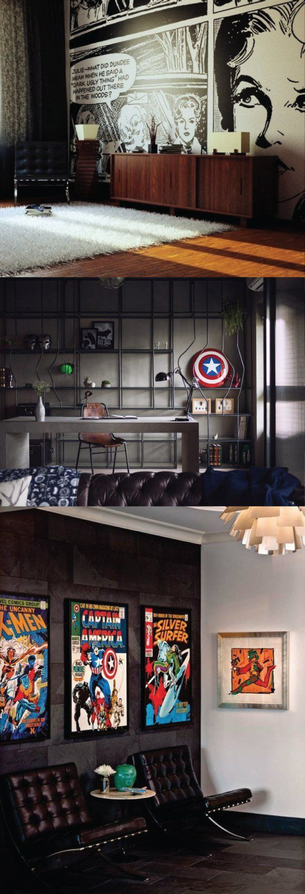 Comic Themed Men's Office. This dark black wall studio has a touch of superhero and comic decor paired with elegant modern furnishings to show taste and style. | 10 Man Cave Ideas For Real Men http://diyready.com/man-cave-ideas-for-real-men/