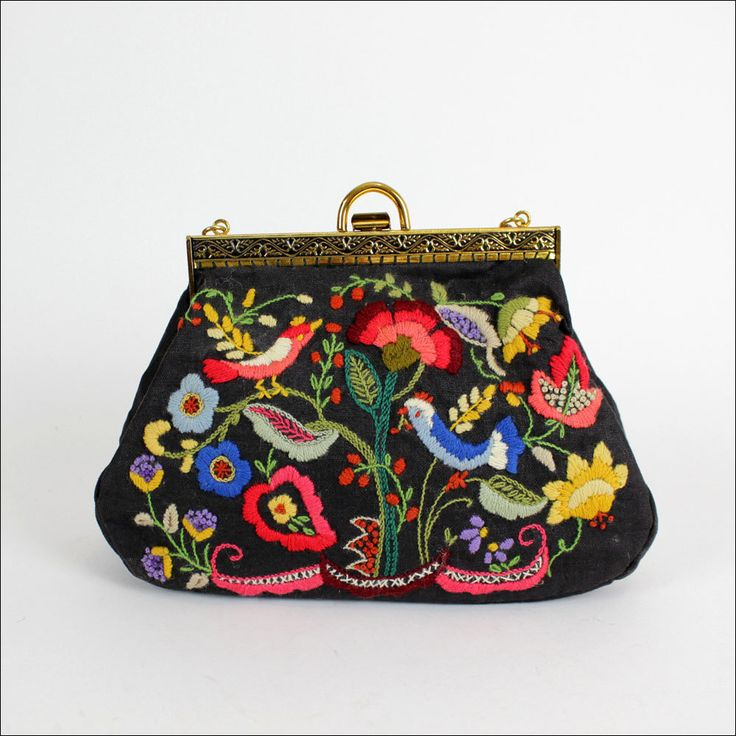 vintage embroidered purse with birds
