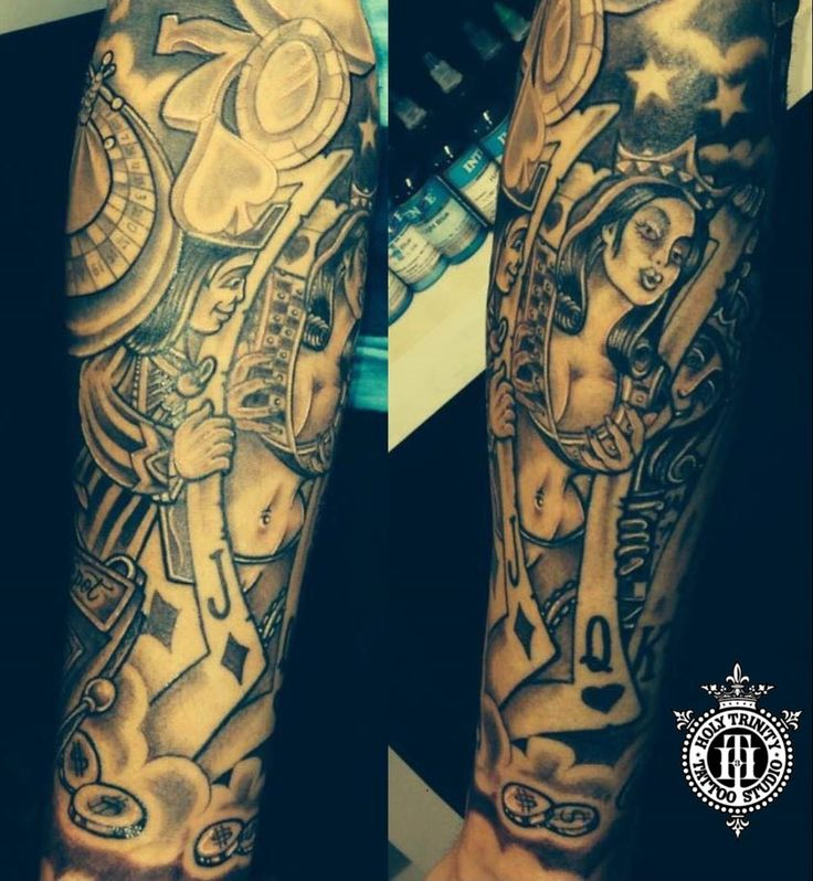 Gambling Sleeve Tattoo Designs