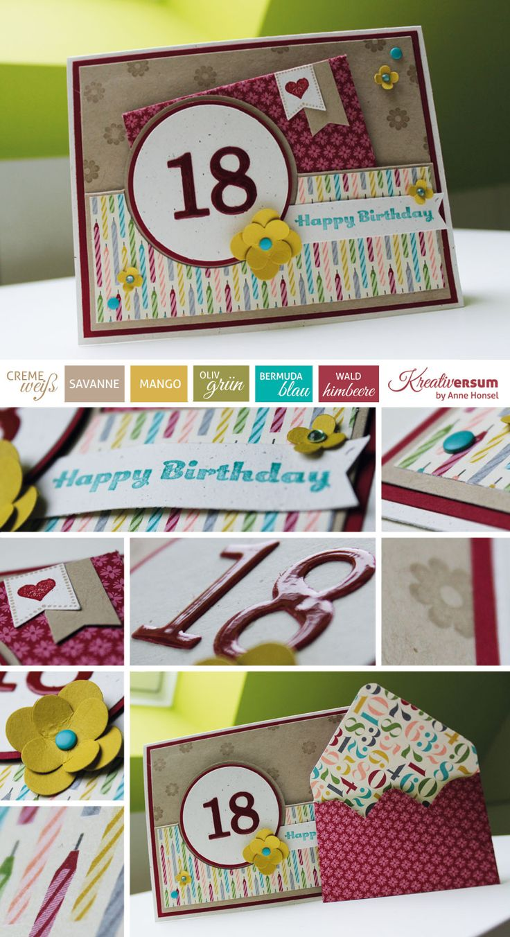 Kreativersum, Stampin Up, SU, Karte, Geburtstag, Birthday, 18, Einsteckkarte, Envelope Punchboard, Big Shot, Thinlits Form für Pop-Up-Karten, Kreis, Framelits, Sizzlits Blütentrio, Designerpapier, Geburtstagsbasics, Farbkarton, Cremeweiß, Savanne, Mango, Olivgrün, Bermudablau, Waldhimbeere, Stempelkissen, Stempelset, Cycle Celebration, Im Fähnchenfieber, Stanze, Fähnchen, Itty Bitty Formen, Blüte, Süße Pünktchen, Signalfarben, Wimpel, SAB 2014, Sale A Bration 2014, Crystal Effects