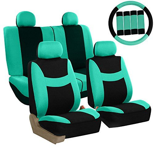 FH GROUP Stylish Cloth Full Set Car Seat Covers (Airbag & Split Ready) Combo-FH2033 Steering Wheel & Seat Belt Pads, Mint / Black Color- Fit Most Car, Truck, Suv, or Van. For product info go to:  https://www.caraccessoriesonlinemarket.com/fh-group-stylish-cloth-full-set-car-seat-covers-airbag-split-ready-combo-fh2033-steering-wheel-seat-belt-pads-mint-black-color-fit-most-car-truck-suv-or-van/