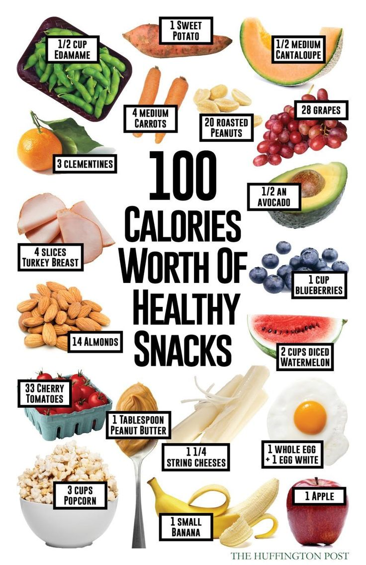 100 calories worth of snacks                                                                                                                                                      More