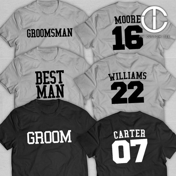 6 Groomsmen Shirts Bachelor Party with Number by mycustomtees