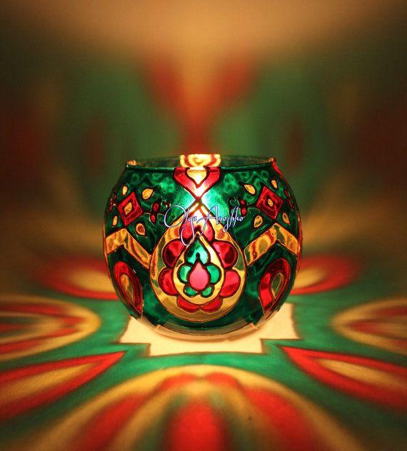 Vase candle holder green Oriental tales. от RomanticArtGlass
