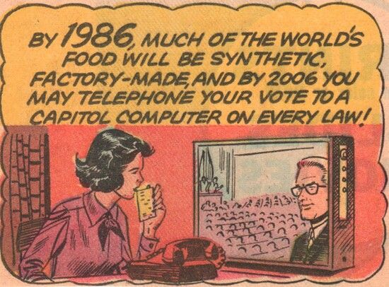1965 imagines the year 1986 & 2006, filled with synthetic food and direct democracy