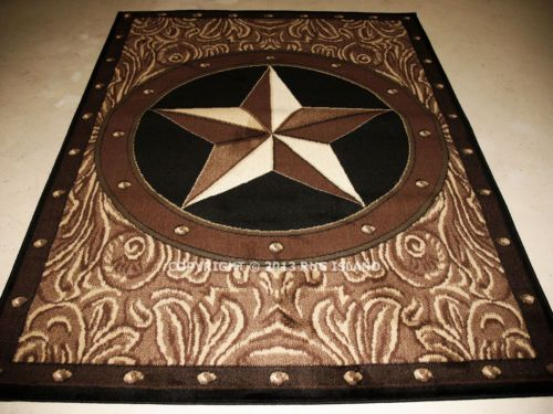 "5x7 5'3"" x 7'2"" Texas Star Western Rustic Cowboy Brown Black Decor Area Rug 