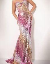 JOVANI Glittering Strapless Sequin Pink/Silver/Gold Formal Dress #73154 US:12