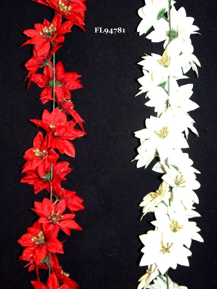 Christmas Decoration Artificial Poinsettia Xmas Garland Decoration 1.8m 6ft  #UKGardens #ModernTraditionalFestiveXmasChristmas