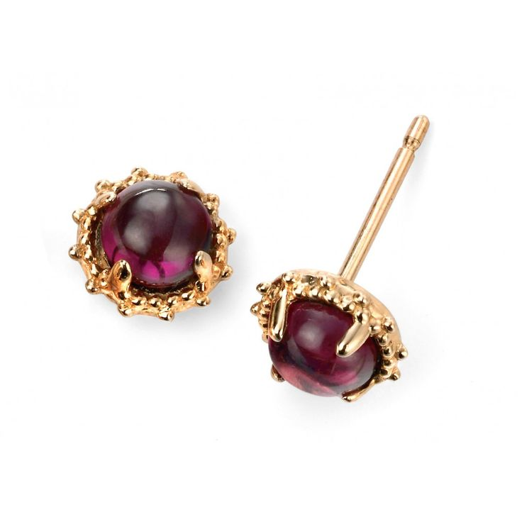 9ct Yellow Gold Brazilian Garnet Stud Earring
