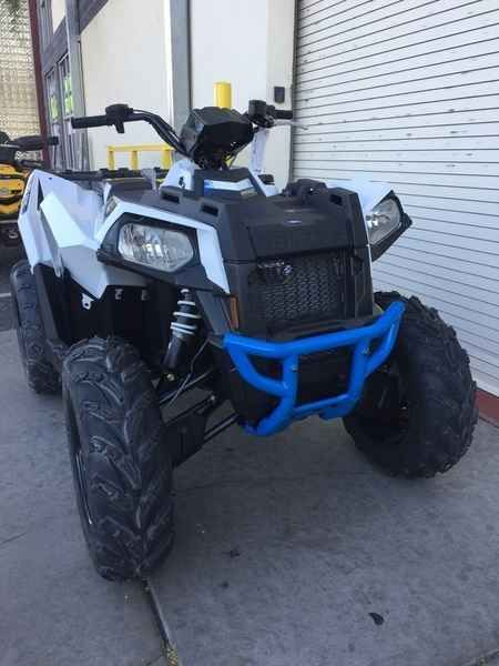 New 2017 Polaris Scrambler 850 White Lightning ATVs For Sale in Arizona. 2017 Polaris Scrambler 850 White Lightning, 2017 Polaris® Scrambler® 850 White Lightning <p>Powerful 78 hp ProStar(r) EFI engine, Performance Suspension, On-Demand AWD, In-Mold Plastic</p><p> Features may include: </p> Proven Sport 4x4 Performance <ul><li>Race Proven</li></ul><p>Scrambler ATVs are race proven both on the trail and in the desert. Team UXC Racing s success on the vehicles include finishing the Baja 1000…