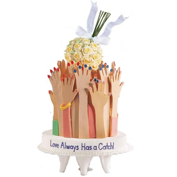 Handily illustrate a time-honored tradition by serving a bouquet-catching cake at bridal showers or bachelorette parties. Make the bouquet by attaching royal icing blooms to a foam ball; use our patterns to form gum paste hands and arms.