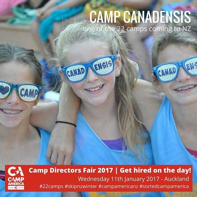 CAMP AMERICA NZ DIRECTORS FAIR 2017 22 Camps are Coming to NZ to hire kiwis for Camp America. Get deets & book-> iwh.nz/CDFair #skipnzwinter
