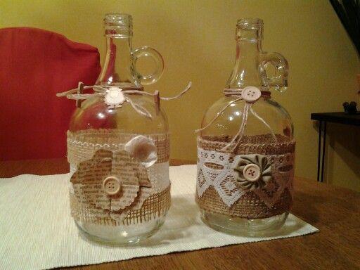 Bauchige Flaschen Verziert Flaschen Dekorieren Deko