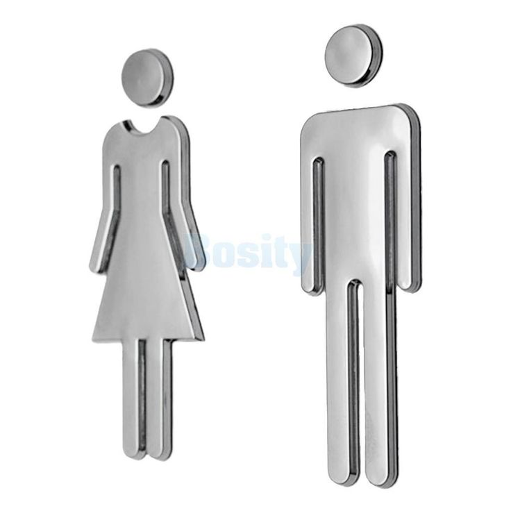 Pair Of Woman &Man Wc Toilet Wall Door Signs Poster Stickers Adhesive Silver