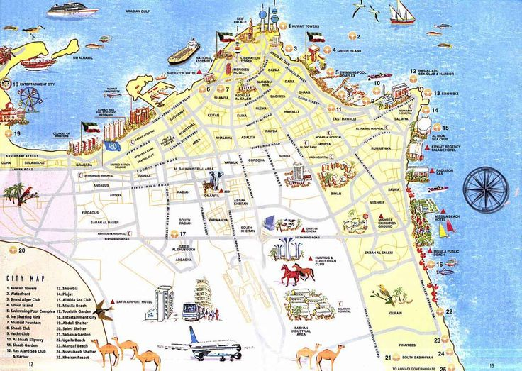 Detailed tourist map of Kuwait. Kuwait detailed tourist map.