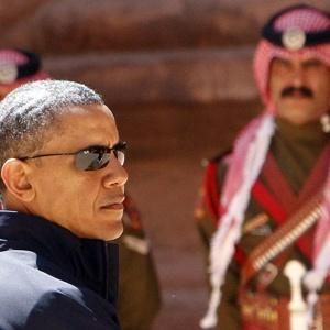President Obama looks on during his Visit to the Nabatean ancient city of Petra, Jordan.