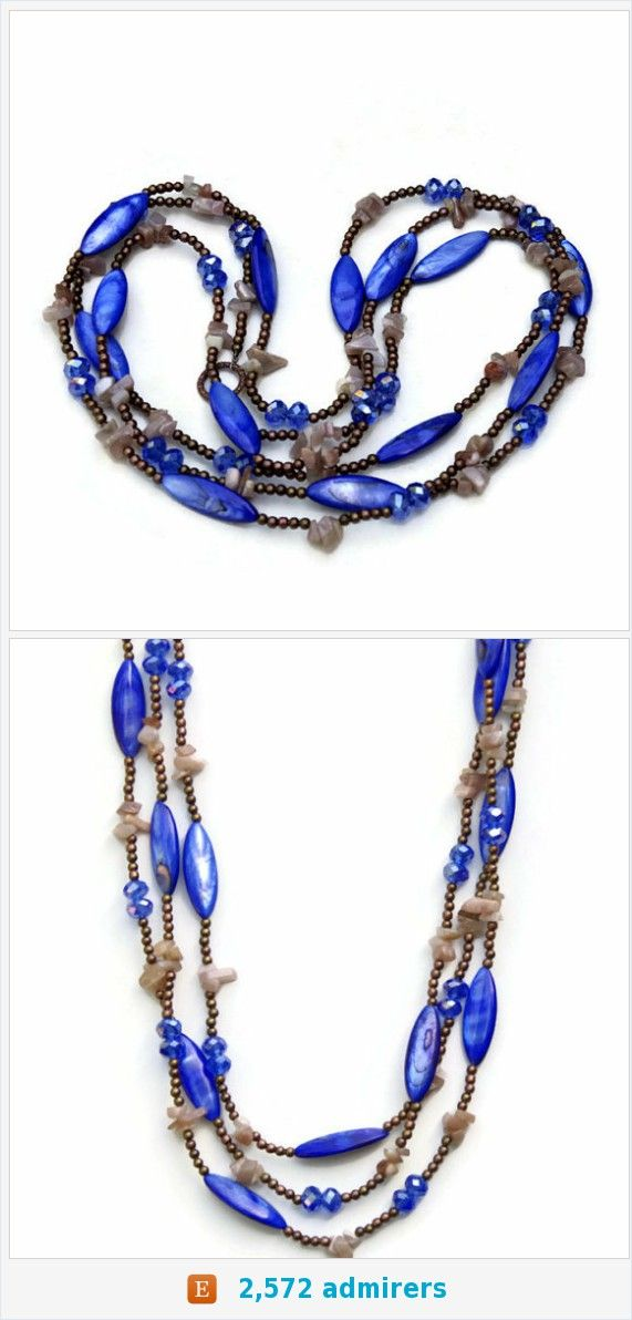 Royal Blue Marquise Mother of Pearl Necklace, Extra Long Multi Strand Wrap Necklace, Boho Chic Jewelry, OOAK Handmade Unique, ALFAdesigns