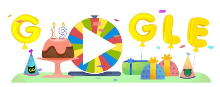 Google as celebration of its 19th birthday displays surprise spinner game! http://bit.ly/2bd36gO
