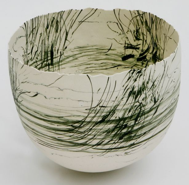 Cheryl Malone Earth Imprinted III, 2005, Coiled porcelain vessels with brush drawing and integrated oxides, 20 x 17 cm