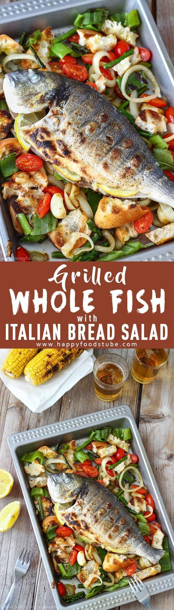 Grilled whole fish with Italian bread salad is the perfect summer recipe. Juicy flesh is hidden under crispy skin and served on a bed of grilled vegetables & bread. Easy to prepare and quick to grill via @happyfoodstube