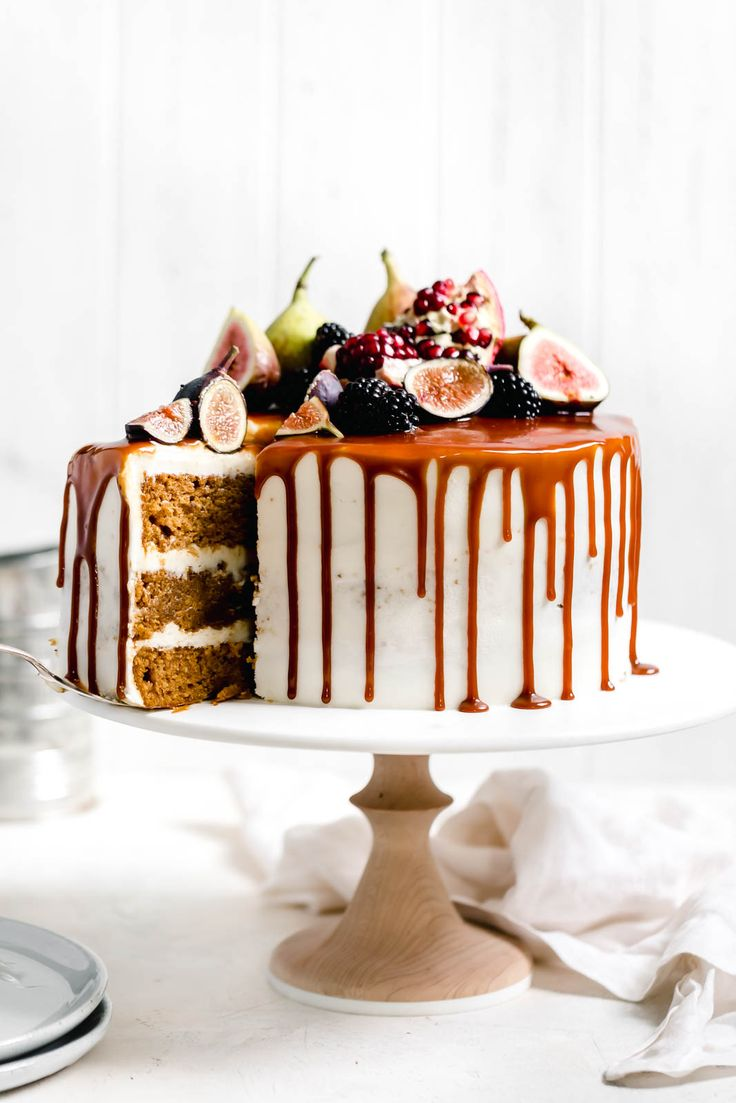 Pumpkin Cake with Cream Cheese Frosting and Salted Caramel Drizzle - Broma Bakery