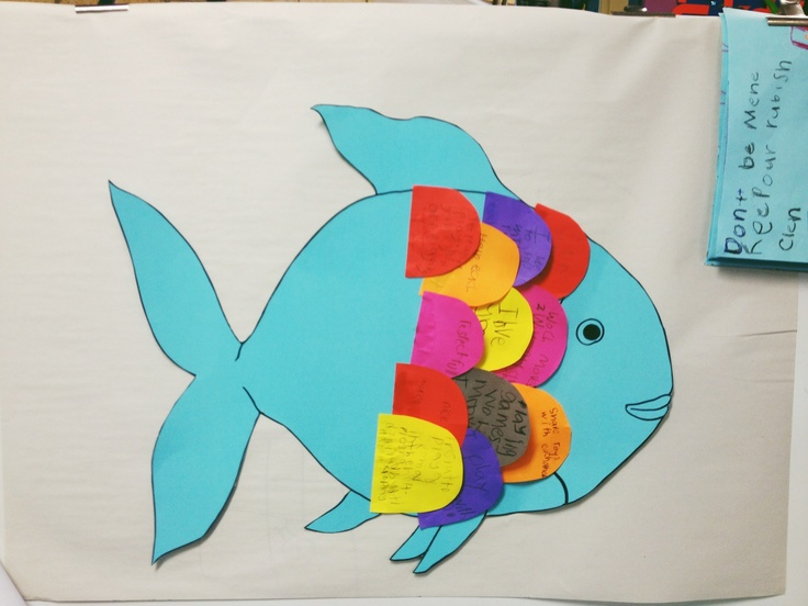 Rainbow Fish activity - each child writes how they can be a good friend on a different coloured scale. Overlap the scales on a giant rainbow fish and display!