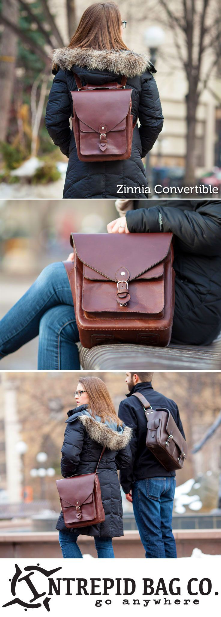 """The Zinnia Convertible. An instantly convertible bag that transforms from a cross-body bag to a backpack in less than a second. Just pull and go! Fits a 13"""" laptop, and much much more!  www.IntrepidBags.com"""