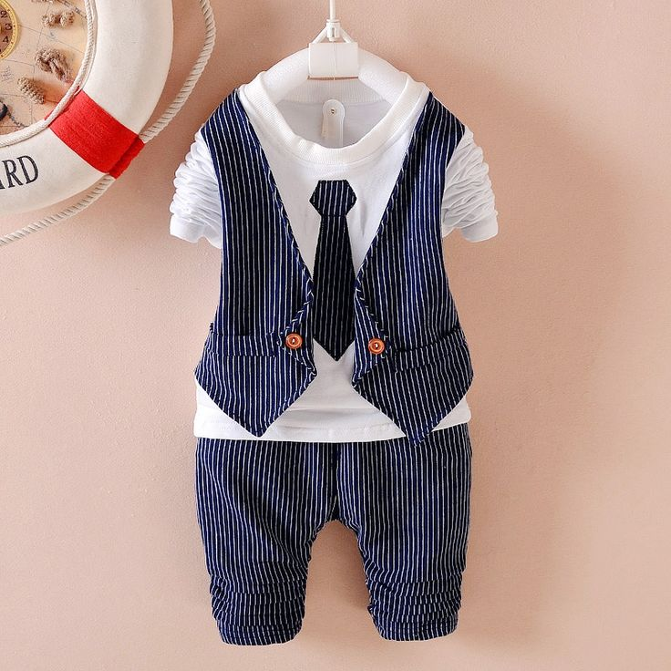 16.28$  Watch now - http://aliav2.shopchina.info/go.php?t=32732953761 - 2016 spring fashion plaid baby boys clothing sets bow tie style long sleeve + pants suits for infant boy clothes tracksuits  #magazineonline