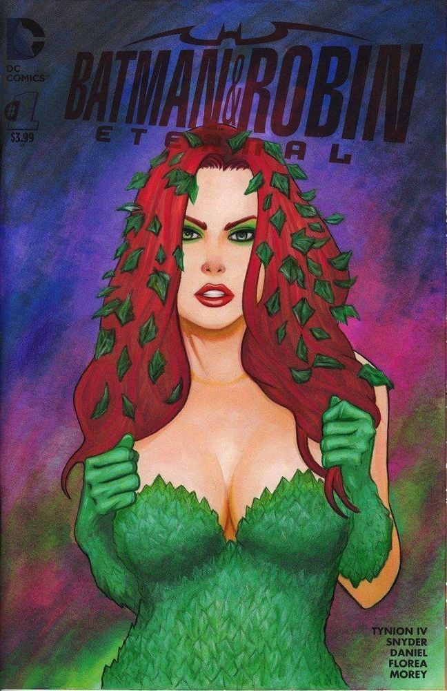 Batman and Robin Eternal #1 POISON IVY painted sketch cover by Frank Kadar