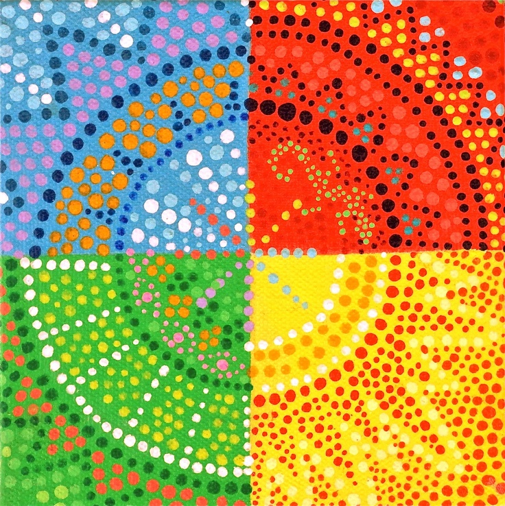 dot art: divide art into 4 sections, share to create group project