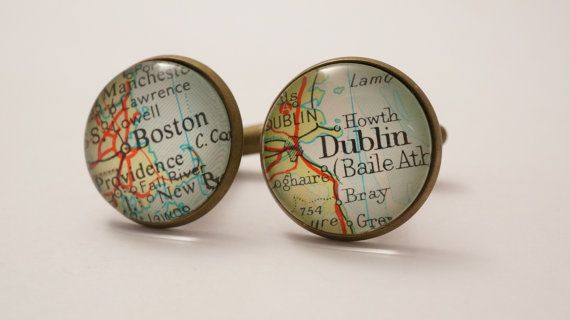 These bronze plated cufflinks are created using a piece of actual vintage map sealed beneath a 1.8cm glass dome, as I only use vintage maps