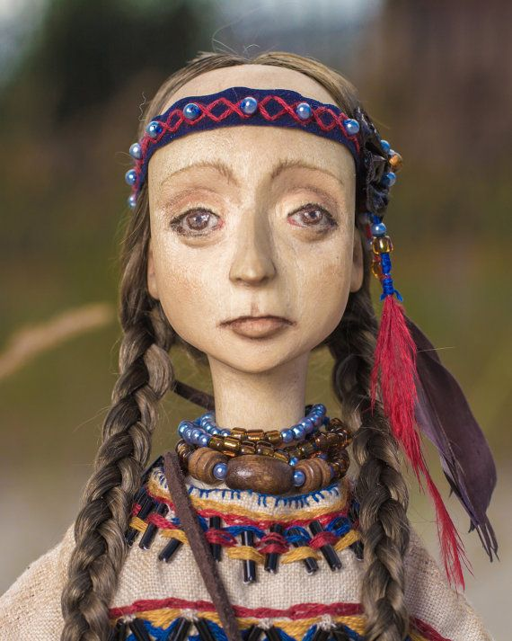 The doll made of wood. Indian girl. The daughter of of the shaman, the keeper of the tribe. Great gift.