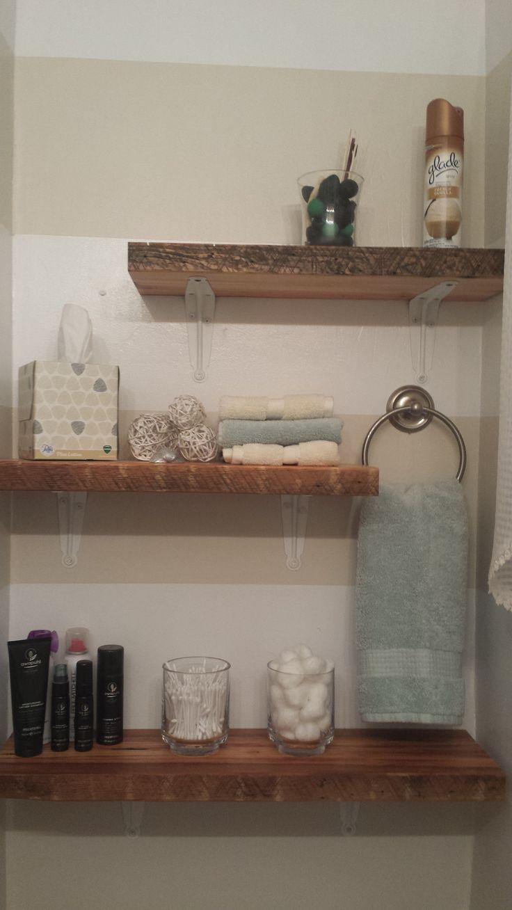 Bathroom Shelves Shelves: Etsy Towels, potpourri, wicker balls: Kohls Glass jars, towel holder: Walmart