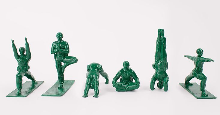 Toy inventor Dan Abramson has taken an interesting approach towards promoting yoga practice. He's created Yoga Joes, which are classic green plastic army men who've traded their guns in for yoga poses.