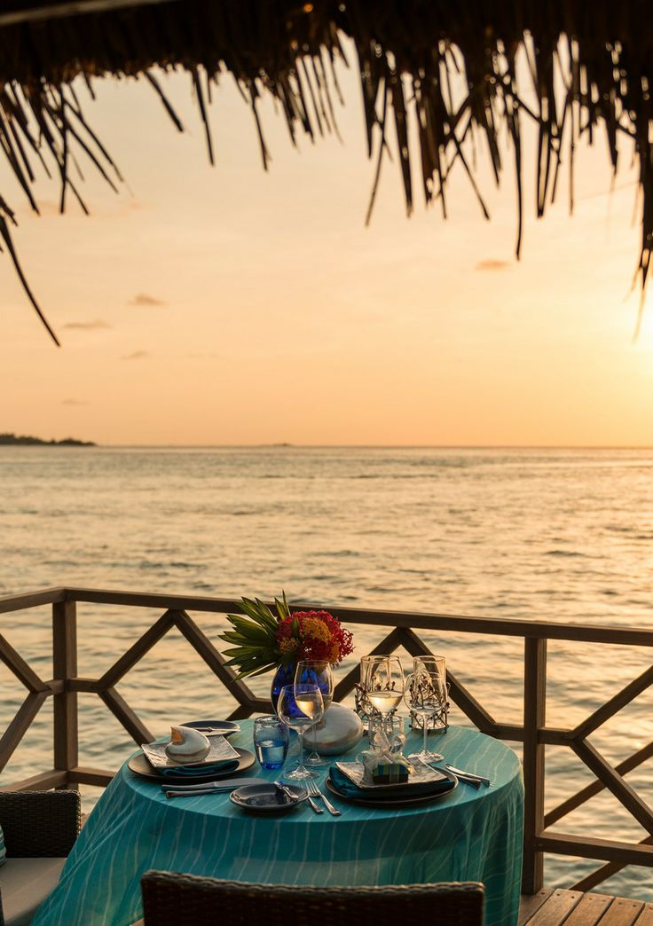 Your sunset supper awaits at @Four Seasons Resorts Maldives.