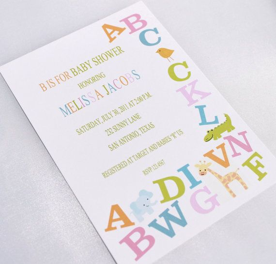 Alphabet Baby Shower Invitations by PaperMonkeyCompany on Etsy, $1.00