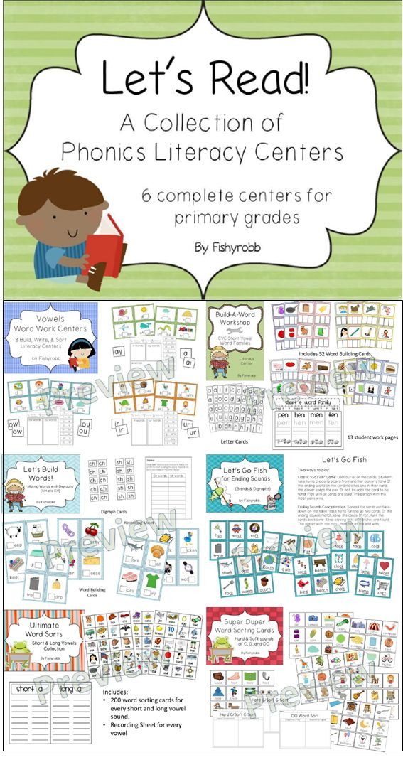 90 pages of phonics and word work centers for primary grades!