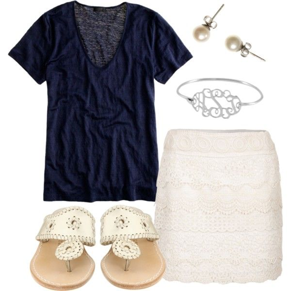 white eyelet skirt with dark casual t